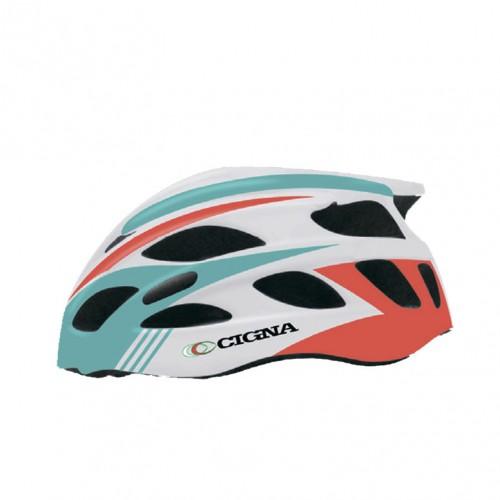 Шлем велосипедный Cigna WT-016 (красный/бирюзовый/белый)